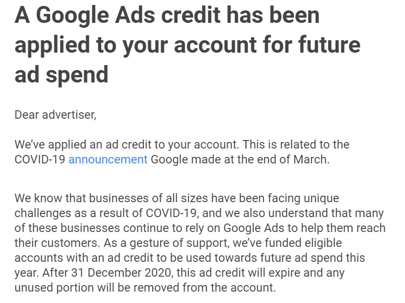 Google Ad Credit Email